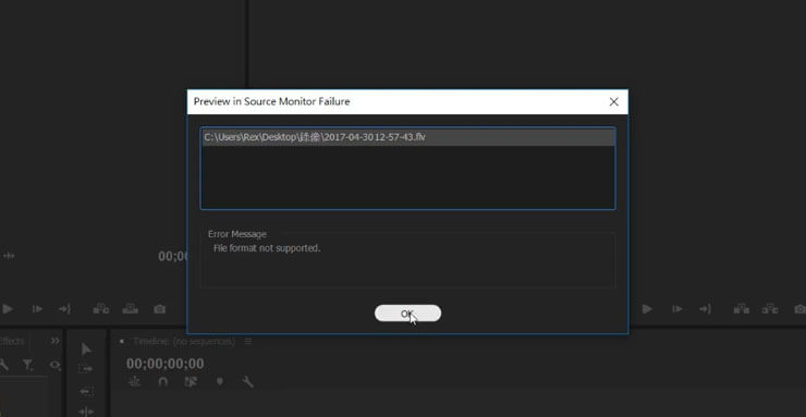 Adobe Premiere匯入FLV影片檔 (OBS轉檔)