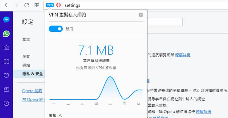 Opera VPN内建免费无限流量翻墙功能,浏览器一键换IP (支援中国地区使用)